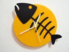 Fish Bone - Black & Yellow Silhouette - Wall Clock