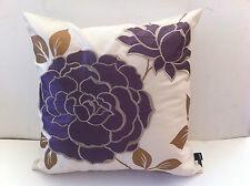 Golden Flora Purple Flower Cushion Cover - 43cm x 43cm
