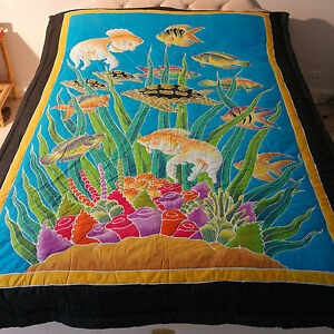 Bedspread With Fish And Tortoise In Blue - Black Color  Good Quality 100% Cotton