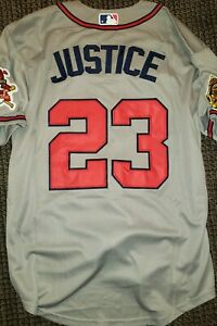 Throwback Atlanta Braves David Justice Grey Replica Large Baseball Jersey
