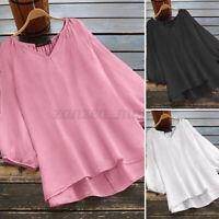 ZANZEA Women Lantern Sleeve Oversize Tops Holiday Asymmetrical Hem Shirt Blouse