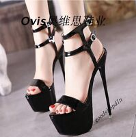 New Sexy Ladies Platform Peep Toe Ankle Strap Stilettos High Heels Sandal Shoes