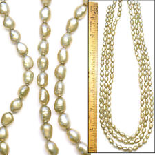 """SALE 3 16"""" Strands QUALITY 7mm Freshwater Olive GREEN Oval Cultured Pearls Beads"""
