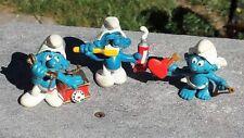 "3 Vintage 1980 SMURF 2"" Figures Figurines PEYO Schleich Phone Tooth Brush Cupid"