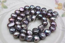 Br219 9-10mm de culture strang vraies perles Bijoux Chaînes Colliers baroque