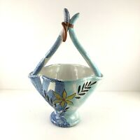 Italy Ceramic Basket Vase Dish Planter F.10010 A-B Hand Painted Shiny Glaze