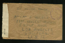World War Ii Cover South Africa To Los Angeles Censored Free Franc Very Rare