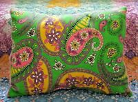 Lumbar Pillow Made With Vintage Bright Hippie Flower Power Paisley Fabric
