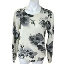 MAGASCHONI CASHMERE SWEATER SIZE XL IVORY GRAY FLORAL WOMEN SWEATER. EXCELLENT