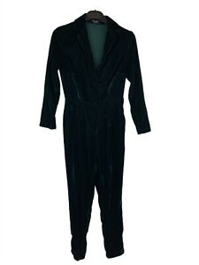New Look, Dark Green Velvet Cropped Leg Jumpsuit, UK Size 6 Petite, EXC COND.