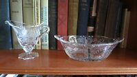 Vintage Heisey Orchid Etched Elegant Glass Creamer and Relish / Candy Dish