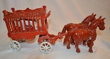 Vintage Cast Iron Overland Circus Horse and Carriage Wagon Figurine Statue Bear