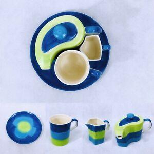 Unique Tea set Hand Painted 5 Piece Blue & Green Tea pot