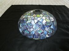 "Vtg. Tiffany Style STAINED GLASS Blue PEACOCK Lamp Shade - 14 3/4"" Diameter"