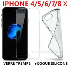 Coque Housse etui Silicone Crystal iPhone X/8/7/6/5/4 + Film vitre Verre Trempé