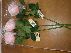 Artificial (Pk/3) Rose Stem (27) Pink - Vickerman