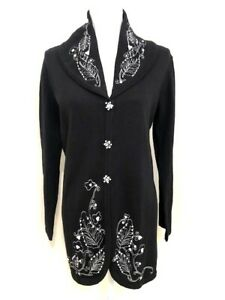"Storybook Knits Black ""Natural Swirls"" Beaded Cardigan Sweater (Size S) NWT"