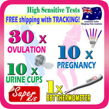 30x Ovulation Tests 10x Pregnancy Test Strip Fertility OPK Thermometer Urine Cup