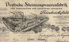 Dt Steinzeugwarenfabrik hist Rechnung Friedrichsfeld 1909 Mannheim Baden FRIATEC