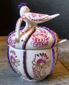 Anthropologie Ceramic Jam or Condiment Jar Bird w/Spoon White Fuchsia & Gold