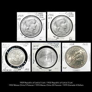 LATVIA - MACAO CHINA - GRENADA COMMEMORATIVE COIN COLLECTION (5 COINS) ALL UNC