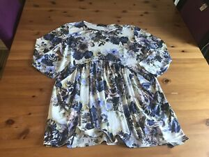 Nicole Size L 14/16 Floral Stretch Dress 3/4 Sleeves Pockets