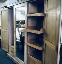 Antique Large Triple Sectional Wardrobe With Mirror Vintage