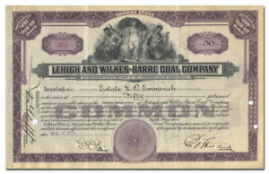 Lehigh and Wilkes-Barre Coal Company Stock Certificate
