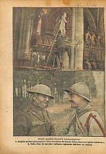 Tommy Statue de Jeanne d'Arc Eglise Poilus Front la Somme WWI 1918 ILLUSTRATION