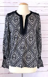 NWT LUCKY BRAND Size M Embroidered Trim Tunic Top Black Printed Long sleeve