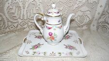 VINTAGE SHUMANN GERMANY ROSES DESIGN TEAPOT AND TRAY SET PROTRUDING ROSES