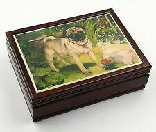 Pug Dog Wooden Jewelry Trinket Box Hinged Lid Velvet Lining