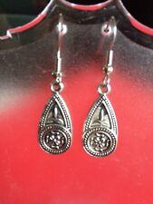 Earrings On Surgical Steel Hook Antique Dark Tibetan Silver Tear Drop