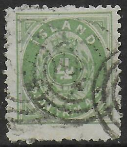 Iceland stamps 1873 MI Official 1B P.12 1/2 CANC VF CAT VALUE $300