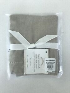 Pottery Barn Linen Hemstitch Tissue Box Cover Flax Color NWT