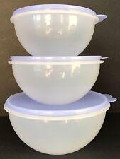 Tupperware Wonderlier Bowls 3 Piece Set Nesting Periwinkle Blue Seals New
