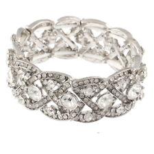 Austrian Crystal Wedding Art Deco Stretch Bracelet Silver Clear