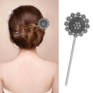 German Silver Plated Handmade Hair Stick for Bun Flower Design Hair Pin