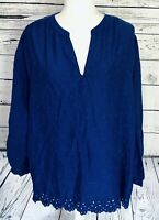 Old Navy Women's XL Blouse Blue 3/4 Sleeves V Neck Embroidery Dots Cutaway Trim
