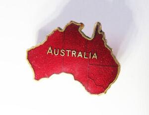 VINTAGE RED ENAMEL AUSTRALIA BROOCH / BADGE