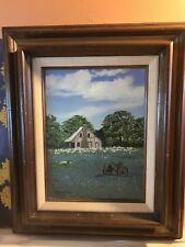 Original Vintage painting Texas Bluebonnets,Barn,Antique Plow,D.J.Wohlfeld