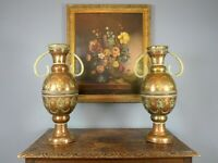Pair of Antique Arts & Crafts Moorish Copper Vases