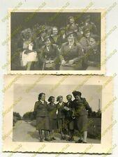 2x Foto, Maiden in Uniform  Arbeitsdienst dt. Züllichau Sulechów Polen (W)1892
