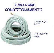 """TUBO ROTOLO RAME 50 MT.1/4"""" + 50 MT.3/8"""" CONDIZIONAMENTO CLIMATIZZATORE OFFERTA"""