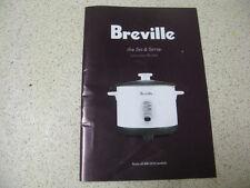 BREVILLE the set and serve instruction recipe book BRC200 model