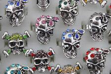 Wholesale Lots 25pcs Crystal Rhinestone Alloy Colorful Mix Skull Adjust Rings