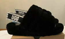 UGG FLUFF YEAH SLIDE BLACK SLINGBACK SHOES/ SLIPPER SIZE 7, WOMEN NEW 1095119