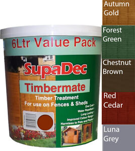 Garden Shed and Fence Exterior Wood Paint Supadec One Coat More Colours 5L Dry