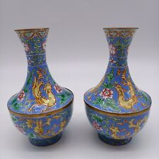 Antique Chinese enamelled hand painted small vase pair