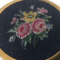 Vintage Brass Petit Point Flower Design Powder Compact